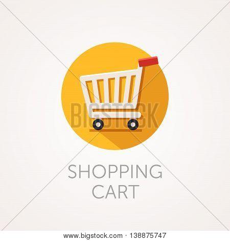 Vector shopping cart Icon. Flat style design