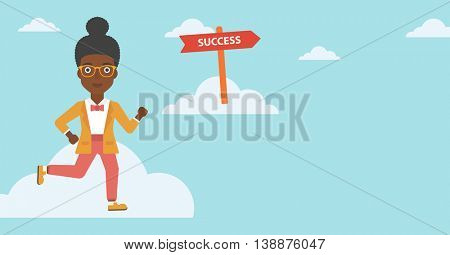 An african-american young business woman running in the sky near direction sign success. Vector flat design illustration. Horizontal layout.