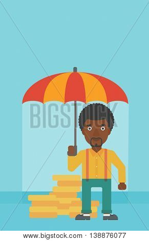 An african-american young businessman standing in the rain and holding an umbrella over coins. Business insurance concept. Vector flat design illustration. Vertical layout.