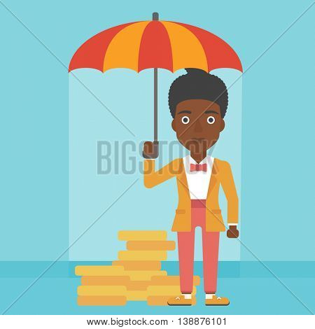 An african-american business woman standing in the rain and holding an umbrella over gold coins. Business insurance concept. Vector flat design illustration. Square layout.