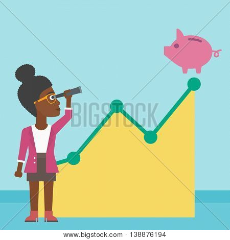An african-american business woman looking through spyglass at a piggy bank standing at the top of growth graph. Vector flat design illustration. Square layout.