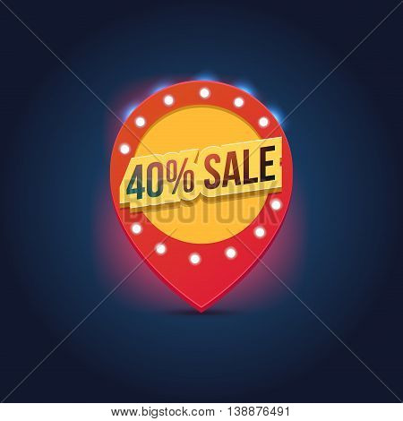 Vector light frame. Retro billboard. Red and yellow advertising sign. Sale and discount, business banner