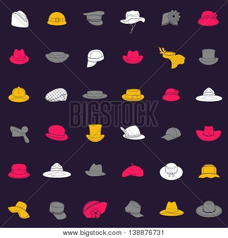 Seamless pattern with flat icons of headwear. Pattern for packaging and clearance headwear store.