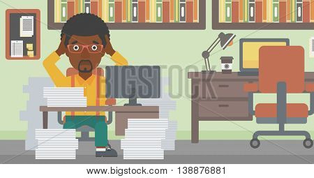 An african-american businessman in despair sitting at workplace with heaps of papers and clutching his head. Vector flat design illustration. Horizontal layout.