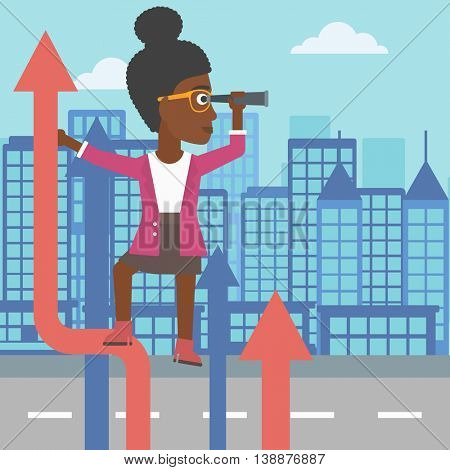 An african-american business woman standing on the top of arrow and looking through spyglass on the background of modern city. Vector flat design illustration. Square layout.