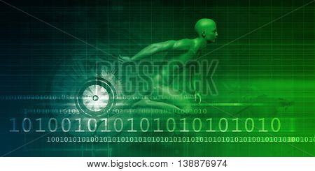 Technology Evolution with Man Evolving with System 3D Render Illustration