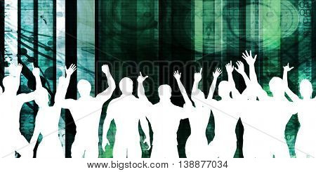 Company Dinner and Dance Event as a Background 3D Illustration Render