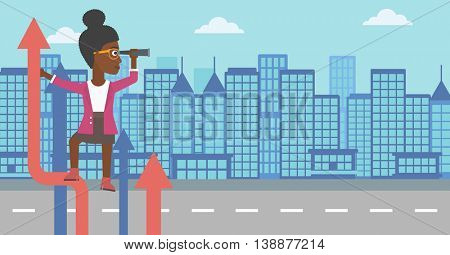An african-american business woman standing on the top of arrow and looking through spyglass on the background of modern city. Vector flat design illustration. Horizontal layout.