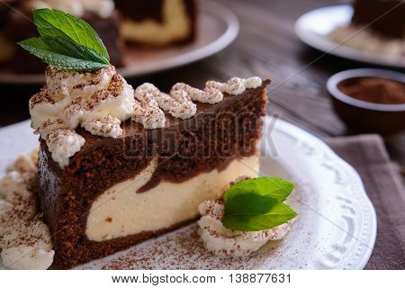 Piece Of Chocolate Cheesecake With Whipped Cream