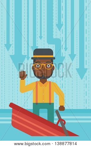 An african-american scared businessman standing in a sinking boat and asking for help. Concept of business bankruptcy. Vector flat design illustration. Vertical layout.