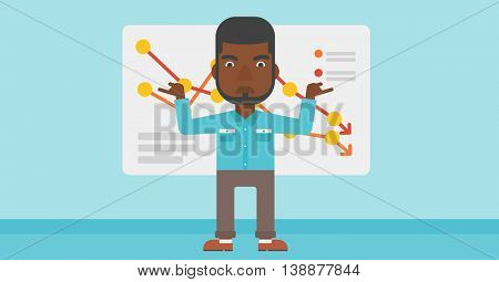 An african-american businessman standing on the background of a board with decreasing chart. Concept of business bankruptcy. Vector flat design illustration. Horizontal layout.