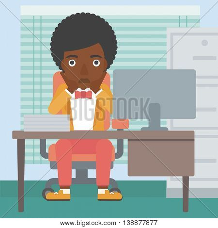 An african-american business woman sitting at workplace in front of computer monitor and clutching her head. Vector flat design illustration. Square layout.