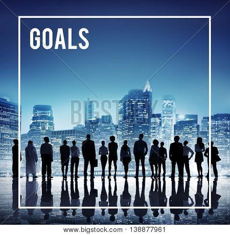 Global Business Team Goals Cityscape Concept