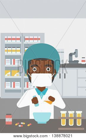 An african-american young pharmacist using mortar and pestle for preparing medicine in the laboratory. Vector flat design illustration. Vertical layout.