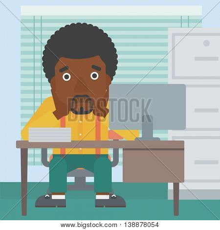 An african-american tired businessman sitting at workplace in front of computer monitor and clutching his head. Vector flat design illustration. Square layout.