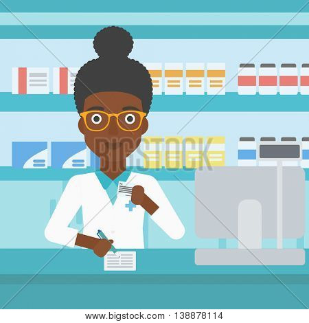 An african-american young female pharmacist in medical gown standing at pharmacy counter, writing on clipboard and holding prescription in hand. Vector flat design illustration. Square layout.