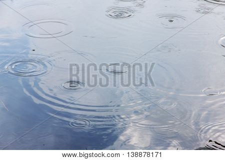 drop rainy and waves in water and the reflection of the blue sky