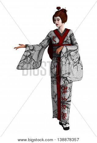 3D Rendering Geisha On White