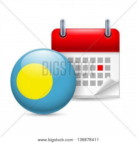 Calendar and round Palauan flag icon. National holiday in Palau
