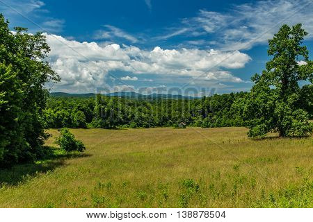 A view of a meadow in the foothills of the Blue Ridge Mountains in Franklin County Virginia