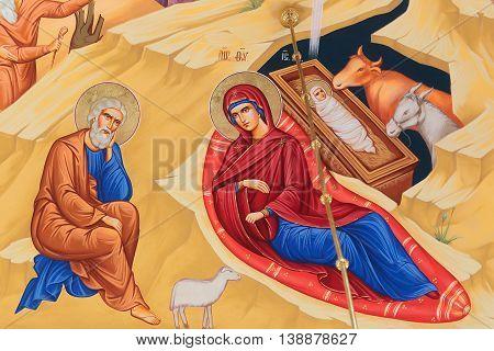 Ukraine, Kyiv - June 24, 2016: Ancient Fresco Of Birth Of Jesus Christ On Wall On Decorative Backgro