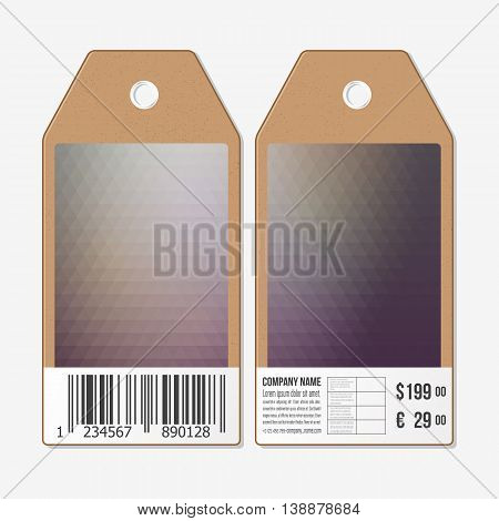 Tags on both sides, cardboard sale labels with barcode. Polygonal design, geometric triangular backgrounds.