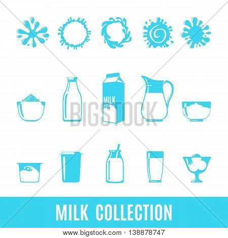Set of dairy products icons in flat style isolated on white: milk yogurt ice cream whipped cream milk splashes and so. Vector illustration.