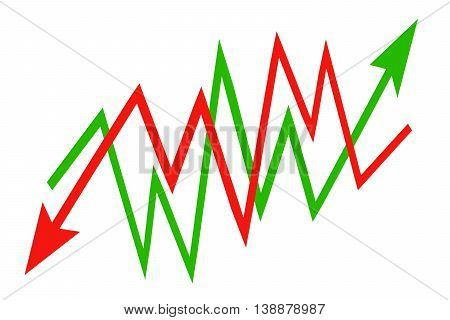 Red  and green sign arrow - graph on a white background