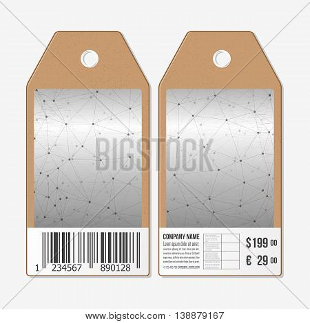 Vector tags design on both sides, cardboard sale labels with barcode. Molecule structure, connection vector, science polygonal background.