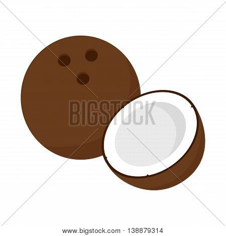 Flat icon coconut and half of coconut. Vector illustration.