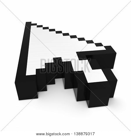 Arrow Cursor Pixelated Black And White Computer Pointer 3D Illustration