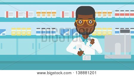 An african-american young pharmacist in medical gown standing at pharmacy counter, writing on clipboard and holding prescription in hand. Vector flat design illustration. Horizontal layout.