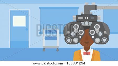 An african-american woman undergoing an eye examination while visiting optometrist at the medical office. Vector flat design illustration. Horizontal layout.