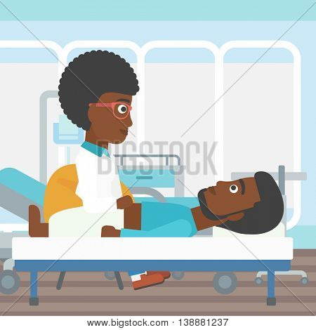 An african-american female doctor touching abdomen of patient. Man on reception at doctor. Vector flat design illustration. Square layout.