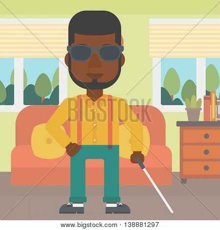 An african-american blind man in dark glasses standing with walking stick in the living room. Vector flat design illustration. Square layout.