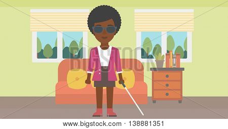 An african-american blind young woman in dark glasses standing with walking stick in the living room. Vector flat design illustration. Horizontal layout.