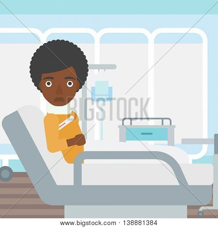 An african-american woman with neck brace lying in bed in hospital ward and suffering from pain. Vector flat design illustration. Square layout.