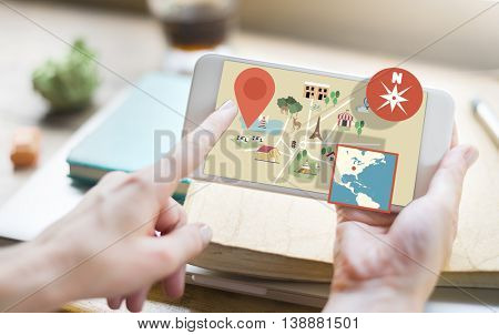 Map Direction Location Position Navigation North Concept