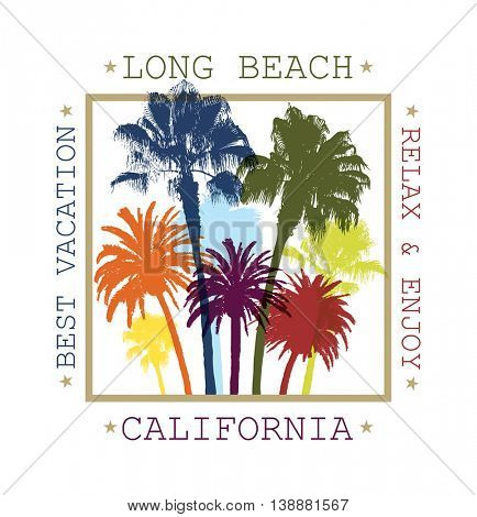 Exotic Travel Background with Palm Trees for Long Beach, California. Summer Print for T-Shirt.