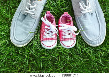 Big and small shoes on green grass background