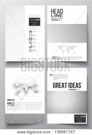 Set of business templates for brochure, magazine, flyer, booklet or annual report. Molecular construction with connected lines and dots, scientific or digital design pattern on gray background.