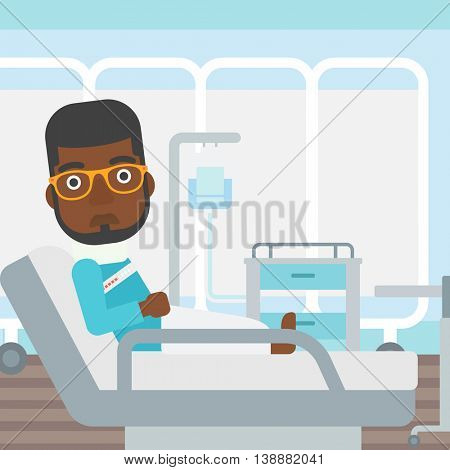 An african-american man with neck brace lying in bed in hospital ward and suffering from pain. Vector flat design illustration. Square layout.