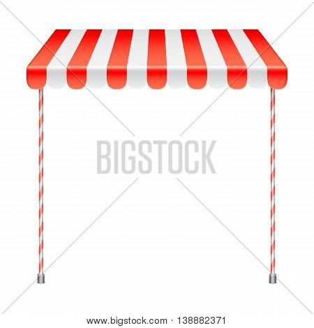 Sale stand with red awning. Product presentation template. Vector illustration