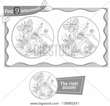 visual game coloring book for children and adults. Task to find 9 differences in the summer illustration with forest insects. black and white vector illustration