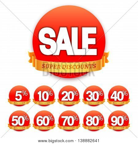 Sale stickers or labels with different discount values. Vector illustration