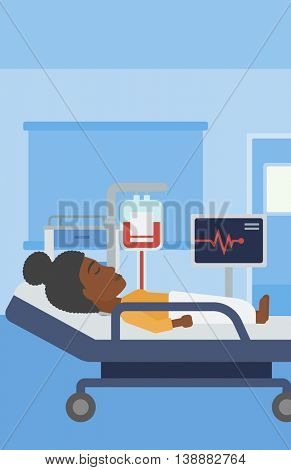 An african-american young woman lying in bed at hospital ward. Patient with heart rate monitor and equipment for blood transfusion in medical room. Vector flat design illustration. Vertical layout.