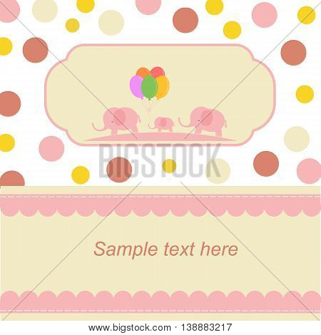 Baby Card. Elephant family with a little elephant in the middle. You can place your own text and information.