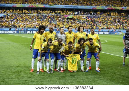 Belo Horizonte Brazil - july 08 2014: Time Brazil during the FIFA 2014 World Cup. Brazil is facing Germany in the semi-finals at Mineirao Stadium