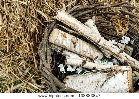 birch wood in the basket