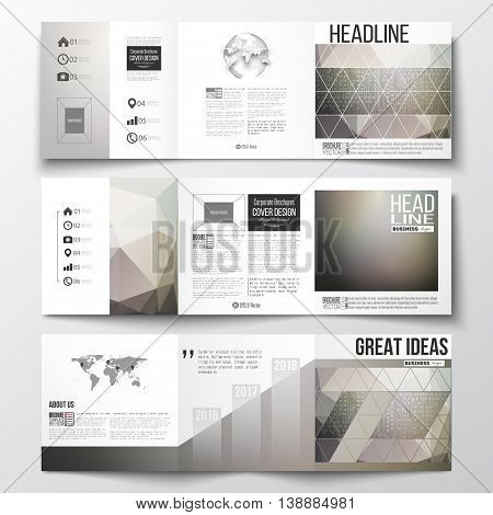 Vector set of tri-fold brochures, square design templates with element of world map and globe. Microchip background, electrical circuits, science design vector template.
